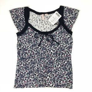 Anthropologie Eloise Navy Floral Top Size Small